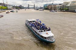 © Licensed to London News Pictures. London, UK. 19/08/17. Anti-Brexit campaign group, The No 10 Vigil, in conjunction with EU Flag Mafia, sail a party boat bedecked with European Union (EU) flags on the River Thames. The pro remain campaigners want the Great Britain to remain in the EU. Photo credit: Vickie Flores/LNP