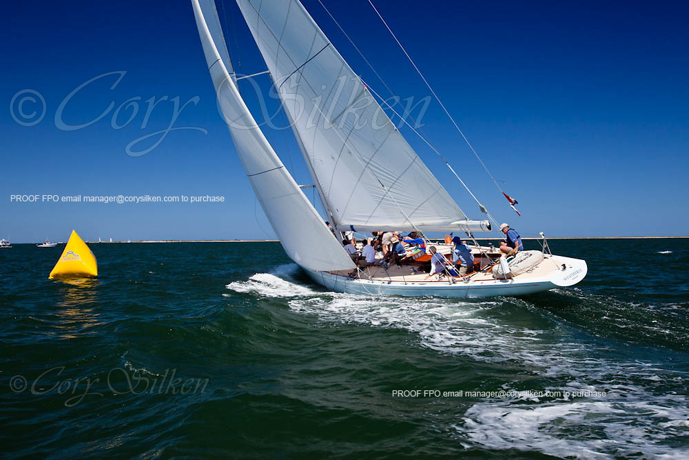 Weatherly sailing in the Nantucket 12 Meter Class Regatta.