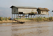 Myanmar, Shan state, Inle lake Houses on the lake front