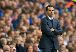 LIVERPOOL, ENGLAND - Sunday, August 30, 2009: Wigan Athletic's manager Roberto Martinez during the Premiership match against Everton at Goodison Park. (Photo by David Rawcliffe/Propaganda)