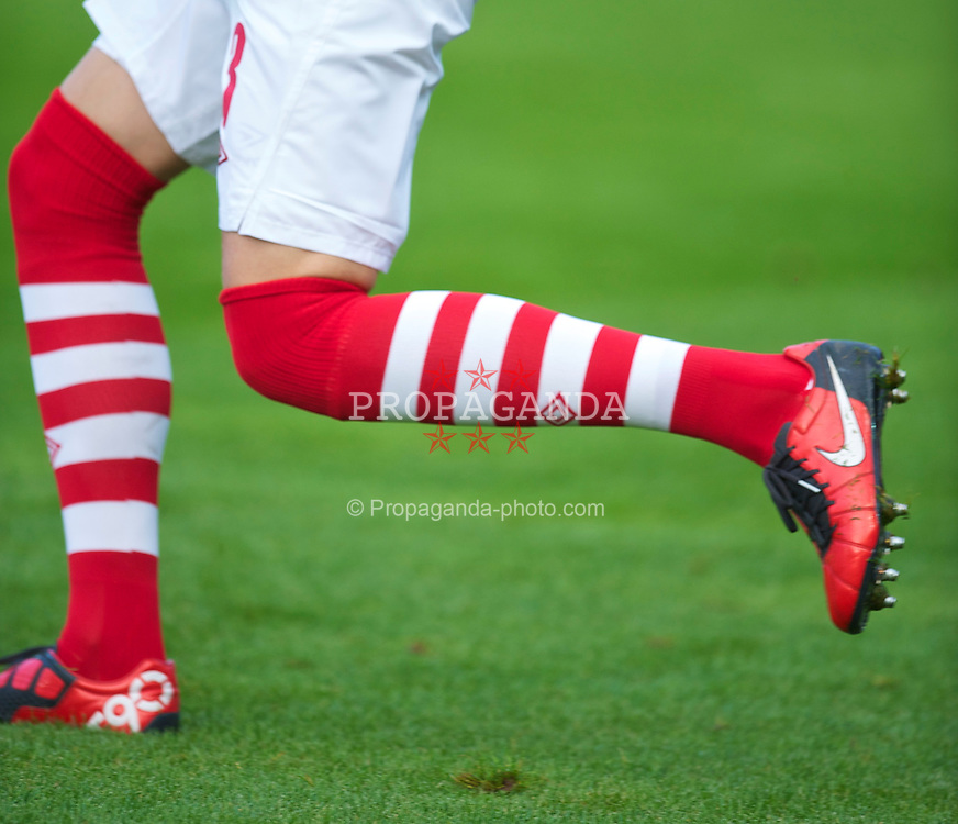 LLANELLI, WALES - Wednesday, August 11, 2010: Wales' new hopped socks before an international friendly match against Luxembourg at Parc y Scarlets. (Pic by David Rawcliffe/Propaganda)