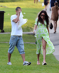 Eliza Doolittle wearing a lime green daisy dress and wedge shoes out and about in north London.  The singer/songwriter met up with some friends in Primrose Hill for a kick about, where Eliza showed off her football skills and a little more... UK. 05/07/2013<br />BYLINE MUST READ : JAMESY/GOTCHA IMAGES<br /><br />Copyright by © Gotcha Images Ltd. All rights reserved.<br />Usage of this image is conditional upon the acceptance <br />of Gotcha Images Ltd, terms and conditions available at<br />www.gotchaimages.com