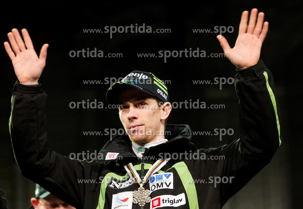 Jure Sinkovec during reception of Slovenian Ski jumping team after they get bronze team medal and R. Kranjec became World Champion at FIS Ski Flying World Championships 2012 in Vikersund, Norway, on February 28, 2012 in Kongresni try, Ljubljana, Slovenia.  (Photo By Vid Ponikvar / Sportida.com)