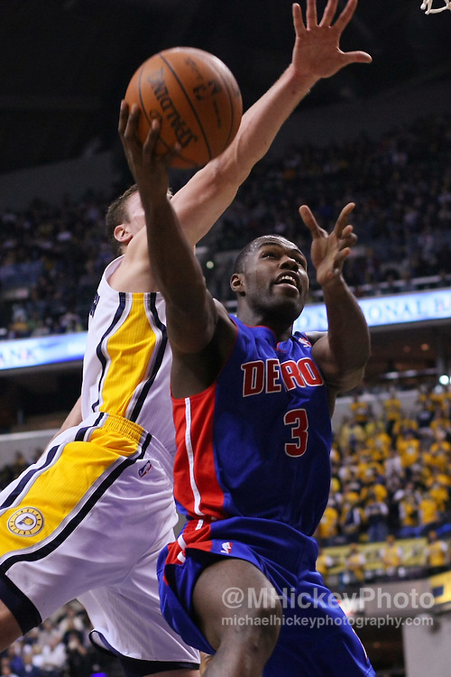 "Dec. 26, 2011; Indianapolis, IN, USA; Detroit Pistons point guard Rodney Stuckey (3) shoots the ball against Indiana Pacers power forward Tyler Hansbrough (50) at Bankers Life Fieldshouse. Mandatory credit: Michael Hickey-US PRESSWIRE <a href=""mailto:michael.hickey@me.com"">Email Me</a>"