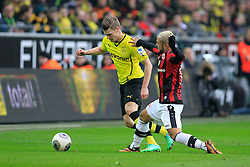 15.02.2014, Signal Iduna Park, Dortmund, GER, 1. FBL, Borussia Dortmund vs Eintracht Frankfurt, 21. Runde, im Bild Stephan Schroeck (Eintracht Frankfurt #17) kommt gegen Lukas Piszczek (Borussia Dortmund #26) zu spaet, Aktion, Action // during the German Bundesliga 21th round match between Borussia Dortmund and Eintracht Frankfurt at the Signal Iduna Park in Dortmund, Germany on 2014/02/15. EXPA Pictures © 2014, PhotoCredit: EXPA/ Eibner-Pressefoto/ Schueler<br /> <br /> *****ATTENTION - OUT of GER*****