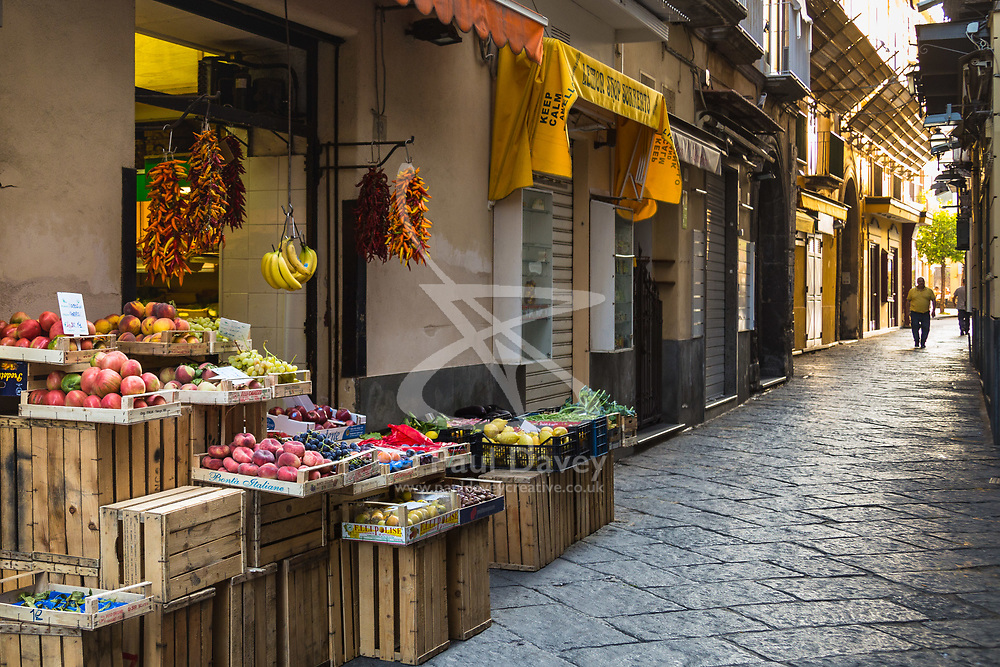 Sorrento, Italy, September 13 2017. A fruit and vegetable store is open early in the morning in Sorrento, Italy. © Paul Davey
