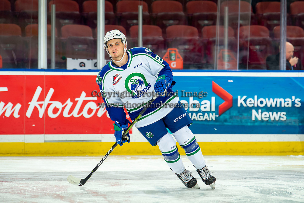 KELOWNA, BC - OCTOBER 16:  Hayden Ostir #26 of the Swift Current Broncos skates against the Kelowna Rockets at Prospera Place on October 16, 2019 in Kelowna, Canada. (Photo by Marissa Baecker/Shoot the Breeze)