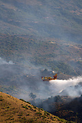 Firefighters extinguishing a wildfire using amphibious aircraft.