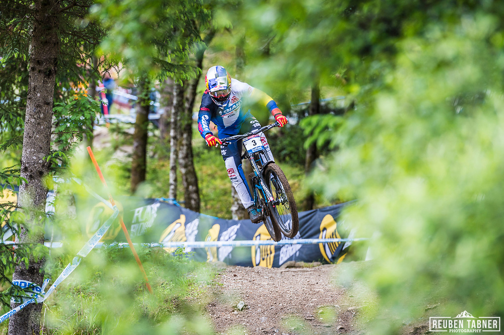 Marcelo Gutierrez Villegas takes flight during his race run at the UCI Mountain Bike World Cup in Fort William.