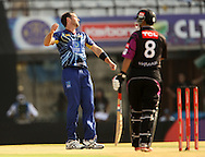 Ian Butler of Otago Volts reacts after a delivery  during the Qualifier 1 match of the Karbonn Smart Champions League T20 (CLT20) between Otago Volts and the Faisalabad Wolves held held at the Punjab Cricket Association Stadium, Mohali on the 17th September 2013<br /> <br /> Photo by Ron Gaunt/CLT20/SPORTZPICS<br /> <br /> <br /> Use of this image is subject to the terms and conditions as outlined by the CLT20. These terms can be found by following this link:<br /> <br /> http://sportzpics.photoshelter.com/image/I0000NmDchxxGVv4<br /> <br /> ENTER YOUR EMAIL ADDRESS TO DOWNLOAD