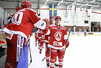 2020-02-12 | Ljungby, Sweden: Troja celebrating a goal during the game between IF Troja / Ljungby and Huddinge IK at Ljungby Arena ( Photo by: Fredrik Sten | Swe Press Photo )<br /> <br /> Keywords: Ljungby, Icehockey, HockeyEttan, Ljungby Arena, IF Troja / Ljungby, Huddinge IK, fsth200212, ATG HockeyEttan, Allettan