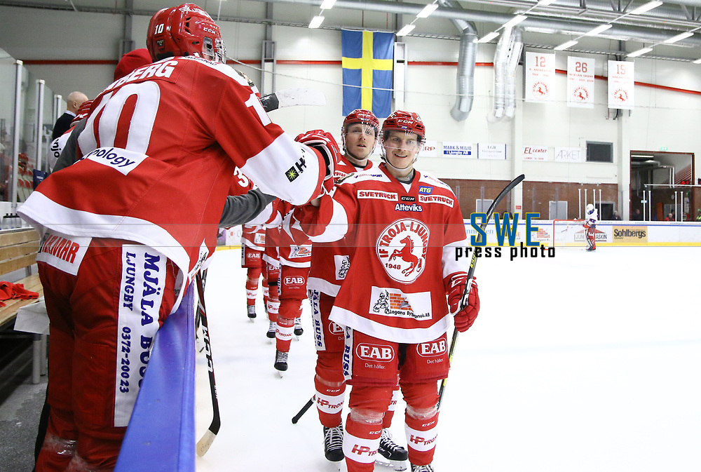 2020-02-12 | Ljungby, Sweden: Troja celebrating a goal during the game between IF Troja / Ljungby and Huddinge IK at Ljungby Arena ( Photo by: Fredrik Sten | Swe Press Photo )<br /> <br /> Keywords: Ljungby, Icehockey, HockeyEttan, Ljungby Arena, IF Troja / Ljungby, Huddinge IK, fsth200212, ATG HockeyEttan, Allettan