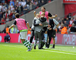 Yeovil Town Manger, Gary Johnson and his back room staff and team celebrate winning the League One Play Off Final  - Photo mandatory by-line: Joe Meredith/JMP - Tel: Mobile: 07966 386802 19/05/2013 - SPORT - FOOTBALL - LEAGUE 1 - PLAY OFF - FINAL - Wembley Stadium - London - Brentford V Yeovil Town