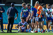 Gerard Beale injured. Sydney Roosters v Vodafone Warriors. NRL Rugby League. Sydney Cricket Ground, Sydney, Australia. 18th August 2019. Copyright Photo: David Neilson / www.photosport.nz