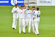 Wicket - Peter Siddle of Essex celebrates taking the wicket of Joe Weatherley of Hampshire during the second day of play in the Specsavers County Champ Div 1 match between Hampshire County Cricket Club and Essex County Cricket Club at the Ageas Bowl, Southampton, United Kingdom on 28 April 2018. Picture by Graham Hunt.