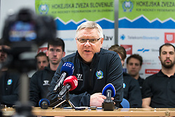 Kari Savolainen, head coach of Slovenia during press conference at first practice of Slovenian National Ice Hockey team before IIHF Ice Hockey World Championship Division I Group A in Budapest, on April 17, 2018 in Ledena dvorana, Bled, Slovenia. Slovenia. Photo by Matic Klansek Velej / Sportida