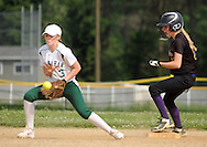 Bishop Shanahan's Ava Dudkiewicz #3 tries to control a throw as Upper Moreland's Maddie Mull makes it safely to second base in the third inning Friday May 27, 2016 at Upper Moreland High School in Willow Grove, Pennsylvania. (Photo by William Thomas Cain)