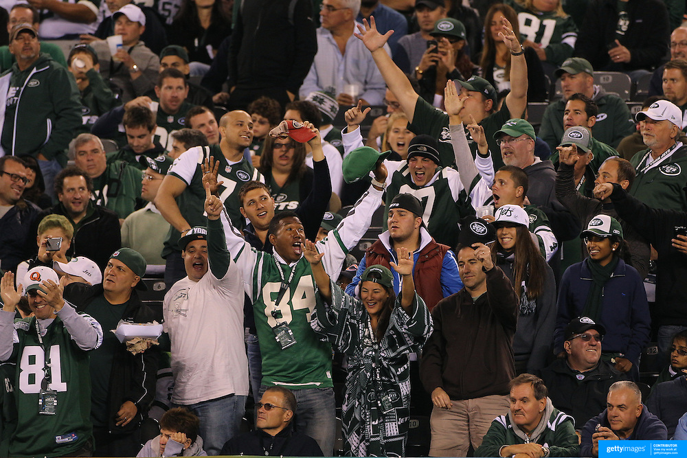 New York Jets fans react during the New York Jets Vs Chicago Bears, NFL regular season game at MetLife Stadium, East Rutherford, NJ, USA. 22nd September 2014. Photo Tim Clayton for the New York Times
