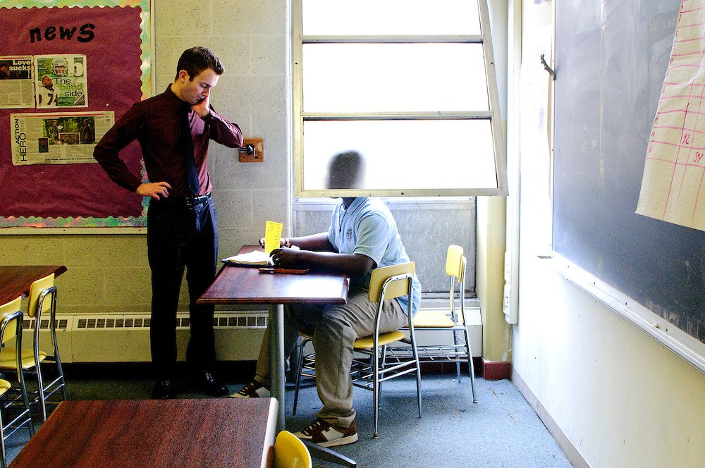 photo by Matt Roth.Assignment ID: 30089842A.Tuesday, December 15, 2009..David Donaldson.second year as a 9th and 10th grade teacher at the Maryland Academy of Technology and Health Sciences in Baltimore City through the Teach For America program.