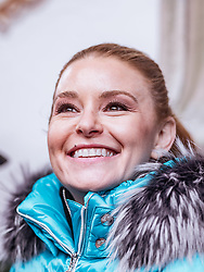 26.01.2019, Rasmushof Alm, Kitzbühel, AUT, FIS Weltcup Ski Alpin, Pressekonferenz, Arnold Schwarzenegger präsentiert eigenen Ski im Stil seines R20 Austrian World Summit, im Bild Schwarzenegger Freundin Heather Milligan // Arnold Schwarzenegger Girlfriend Heather Milligan  during a press conference, Arnold Schwarzenegger presents own skis in the style of his R20 Austrian World Summit at the Rasmushof Alm in Kitzbühel, Austria on 2019/01/26. EXPA Pictures © 2019, PhotoCredit: EXPA/ JFK