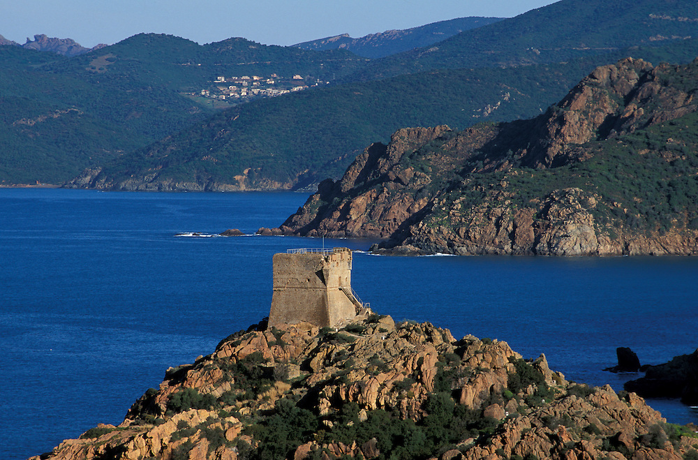 Watchtower of Porto, Mediterranean Sea, Corsica, France, Europe
