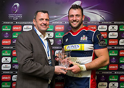 Man of the Match presentation to Luke Arscott of Bristol Rugby - Rogan Thomson/JMP - 11/12/2016 - RUGBY UNION - Ashton Gate Stadium - Bristol, England - Bristol Rugby v Pau - European Rugby Challenge Cup.