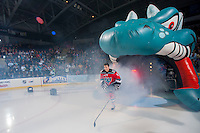KELOWNA, CANADA - SEPTEMBER 21:  Dalton Yorke #5 of the Kelowna Rockets enters the ice during the regular season home opener against the Kamloops Blazers at the Kelowna Rockets on September 21, 2013 at Prospera Place in Kelowna, British Columbia, Canada (Photo by Marissa Baecker/Shoot the Breeze) *** Local Caption ***