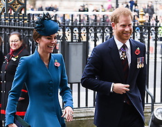 The Duchess of Cambridge and The Duke of Sussex attend the Anzac Day Service 25 April 2019
