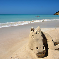 Horse Sand Sculpture at Dickenson Bay in St. John&rsquo;s, Antigua<br />