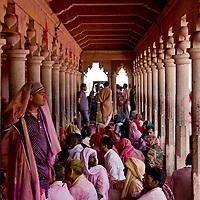 People waiting for Samaj at Radha Rani Temple, Barsana. Braj ki Holi