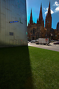Old and New: St Paul's Cathedral juxtaposed with building in Federation Square, Melbourne, and the traffic on Flinders St.