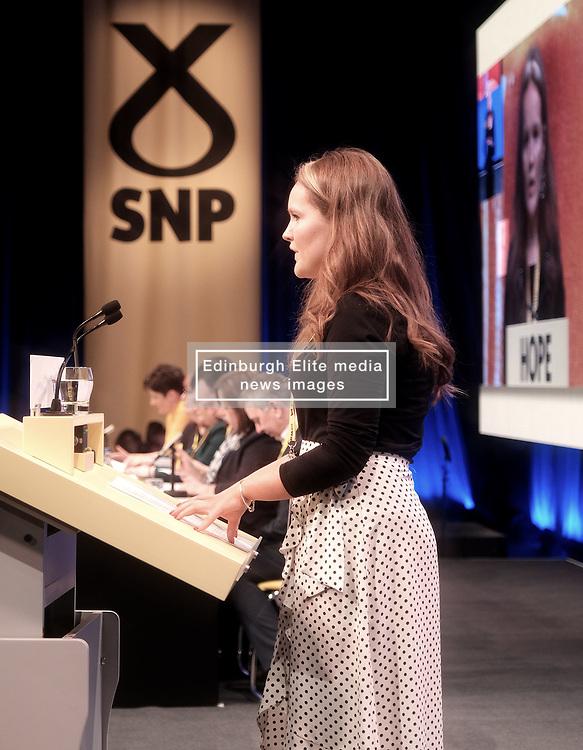 SNP Spring Conference, Saturday 27th April 2019<br /> <br /> Pictured: Young Scots for Independence speaker Robyn Graham<br /> <br /> Alex Todd   Edinburgh Elite media