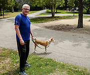 Mark Aranbasich with Bowie enjoy a walk near his new forever home in Los Angeles.