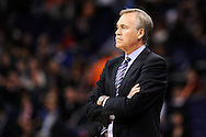 Dec 23, 2013; Phoenix, AZ, USA; Los Angeles Lakers head coach Mike D'Antoni watches on against the Phoenix Suns at US Airways Center. The Suns won 117-90. Mandatory Credit: Jennifer Stewart-USA TODAY Sports