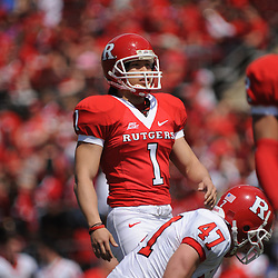 Apr 18, 2009; Piscataway, NJ, USA; Rutgers PK San San Te lines up for an extra point attempt during the first half of Rutgers' Scarlet and White spring football scrimmage.
