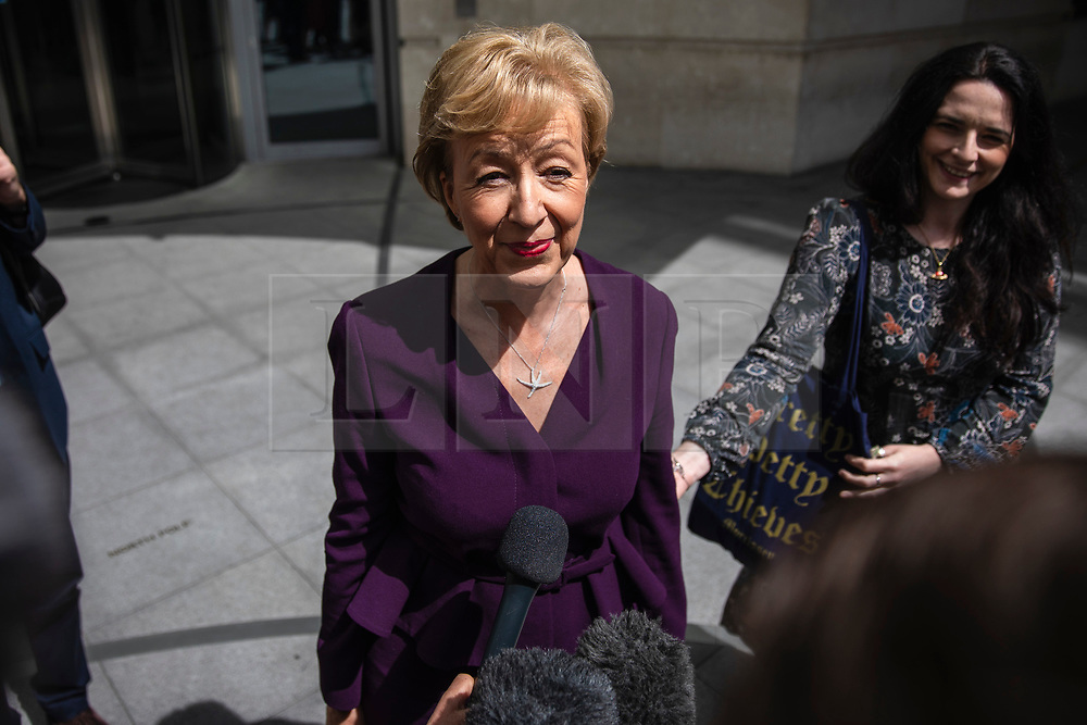 © Licensed to London News Pictures. 02/06/2019. London, UK. Former Leader of the House of Commons and Conservative Party leadership contender Andrea Leadsom speaks to reporters as she leaves BBC Broadcasting House. Photo credit: Rob Pinney/LNP