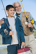 Grandfather and Grandson Fishing Together