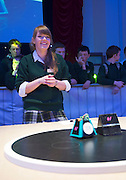 01/05/2015  repro freeLaura Karaliute from St Leo's Carlow with Sassy her robot at the  Irish Robotics Championship where over 450 second level students competed for the coveted trophy supported by  EA Games. Photo:Andrew Downes: XPOSURE