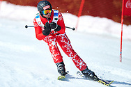 """Schladming, Austria - 2017 March 21: Klaus Tomaschek from Austria (54) competes in Alpine Skiing Competition while Special Olympics World Winter Games Austria 2017 on the """"Sepp-Walcher-Downhill"""" (Slope 32) near the """"Tauernalm"""" in Rohrmoos on March 21, 2017 in Schladming, Austria.<br /> <br /> Mandatory credit:<br /> Photo by © Adam Nurkiewicz / Mediasport<br /> <br /> Adam Nurkiewicz declares that he has no rights to the image of people at the photographs of his authorship.<br /> <br /> Picture also available in RAW (NEF) or TIFF format on special request.<br /> <br /> Any editorial, commercial or promotional use requires written permission from the author of image.<br /> <br /> Image can be used in the press when the method of use and the signature does not hurt people on the picture."""