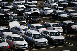UK ENGLAND SHEERNESS 21SEP17 - General view of Sheerness port car pound where Greenpeace actvists have scaled a fence and disabled imported VW and Audi diesel cars by lifting the bonnet and removing the keys. <br /> <br /> <br />jre/Photo by Jiri Rezac<br /><br /> <br /> © Jiri Rezac 2017