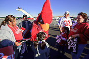 """Jan. 26, 2009 -- PHOENIX, AZ: """"Big Red,"""" the Arizona Cardinals mascot, signs autographs for fans after a send off party for the NFL team after they left for Tampa, FL, to play in the Super Bowl. The Arizona Cardinals are in the Super Bowl for the first time in the team's history. They defeated the Philadelphia Eagles to win the NFC Championship on Jan 18. With a record of 9 - 7 they have one of the worst records of any team to make the Super Bowl. Before this year they had a total of two playoff victories in the team's 111 year history, in 1947 when they won the league championship, and 1998 in a wild card game against the Dallas Cowboys. They face the Pittsburgh Steelers in Tampa on Feb. 1.    Photo By Jack Kurtz / ZUMA Press"""