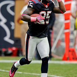 October 10, 2010; Houston, TX USA; Houston Texans defensive back Kareem Jackson (25) celebrates following an interception against the New York Giants during the second half at Reliant Stadium. The Giants defeated the Texans 34-10. Mandatory Credit: Derick E. Hingle