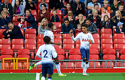 LIVERPOOL, ENGLAND - Friday, August 17, 2018: Tottenham Hotspur's Marcus Edwards celebrates after scoring the equalising goal to level the score 1-1 during the Under-23 FA Premier League 2 Division 1 match between Liverpool FC and Tottenham Hotspur FC at Anfield. (Pic by David Rawcliffe/Propaganda)
