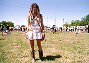 A girl with Dreadlocks and flowery dress, Glastonbury 2004