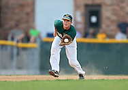 West third baseman Tyus Adkins (2) pulls in a ground ball during their substate baseball game at Iowa City West High School in Iowa City on Friday evening, July 13, 2012. West defeated Washington 6-0.