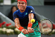 Milos Raonic during the Madrid Open at Manzanares Park Tennis Centre, Madrid<br /> Picture by EXPA Pictures/Focus Images Ltd 07814482222<br /> 07/05/2016<br /> ***UK &amp; IRELAND ONLY***<br /> EXPA-ESP-160507-0009.jpg