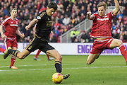 Nottingham Forest midfielder Gary Gardner (22) gets in a shot on goal during the Sky Bet Championship match between Middlesbrough and Nottingham Forest at the Riverside Stadium, Middlesbrough, England on 23 January 2016. Photo by George Ledger.