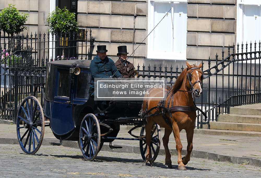 """Moray Place in Edinburgh's Georgian old town was turned into 19th century London for Julian Fellowes' new ITV show """"Belgravia"""".<br /> <br /> Pictured: Horses and carriages in the old town during filming<br /> <br /> Alex Todd   Edinburgh Elite media"""