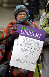 © Licensed to London News Pictures. 08/02/2014; Bristol, UK. <br /> Today is national libraries day and around 200 people demonstrate through the city centre against cuts by the Mayor of Bristol, George Ferguson, to Bristol City Council's local services, part of the Government's austerity programme cutting funding to local authorities, and against the bedroom tax. 08 February 2014.<br /> Photo credit: Simon Chapman/LNP