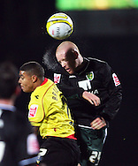 London - Wednesday, December 12th, 2008: Liam Bridcutt of Watford and Matty Pattison of Norwich City during the Coca Cola Championship match at Vicarage Road, London. (Pic by Chris Ratcliffe/Focus Images)